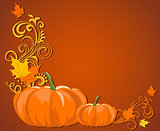 Brown autumn frame with pumpkin