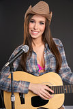 Pretty Attractive Female Singer Strumming Acoustic Guitar Microp