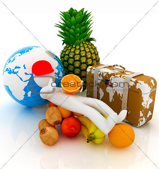 3d man with citrus,earth and traveler's suitcase
