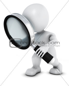 3D Morph Man searching with magnifying glass
