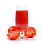 fresh tomato juice isolated on white background
