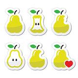 Pear, pear core, bitten, half vector icons