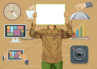 Flat Background With People