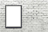 Blank vertical painting poster in black frame
