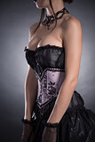 Close-up shot of a busty woman in elegant corset