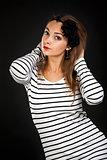 portrait of a girl in a striped dress