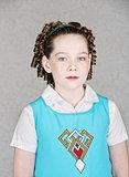 Serious Irish Child in Blue