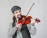 Smiling Irish Fiddler Performing