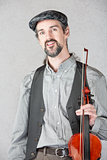 Cheerful Irish Fiddler with Instrument