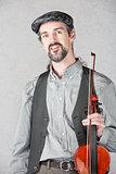 Cheerful Irish Fiddler with Instrument