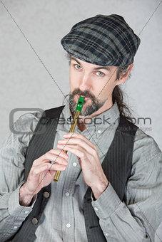 Celtic Folk Musician Playing Flute