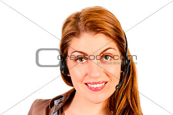 Portrait of charming girl with headset