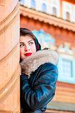 beautiful Russian woman looking away