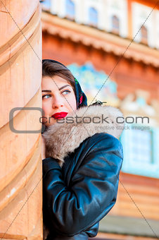 beautiful Russian woman looking away