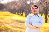 yellow autumn park and beautiful girl