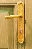 macro shot of a wooden door handles