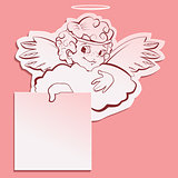Angel holding a sheet of paper