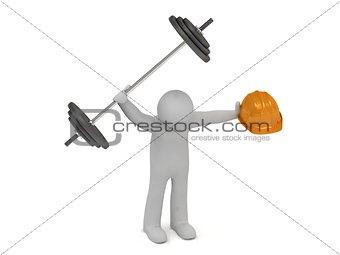 3d man keeps in hands barbell and building helmet