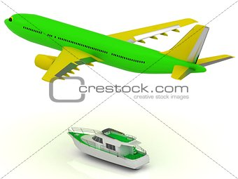 Green passenger airliner and green boat