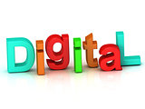 Digital inscription bright volume letter