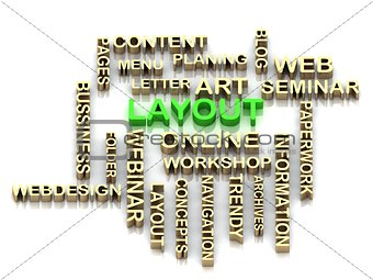 LAYOUT 3d word colour bright letter