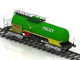 POLICY inscription on green railway wagon
