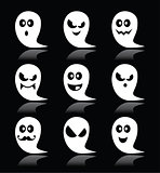 Halloween ghost vector icons set on black background