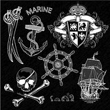 marine theme, icons set