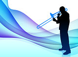 Trumpet Musician on Abstract Flowing Background