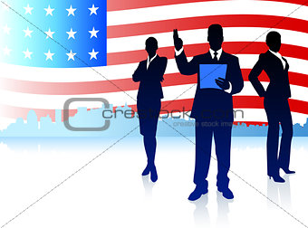 Business Team with American Flag Background