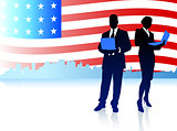Business Couple with American Flag Background