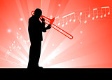 Trumpet Musician on Red Background with Notes