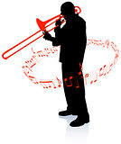 Trumpet Musician with Musical Notes