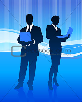 Business Couple on Abstract Wave Background