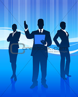 Business Team on Abstract Wave Background