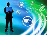 Businessman on Liquid Background with Internet Icons