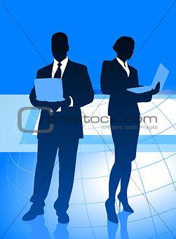 Business Couple on Global Economy Background