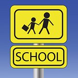 yellow school sign