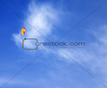 Skydivers in blue sky at sun day
