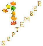 Text S E P T E M B E R 1 composed of autumn maple leafs