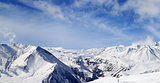 Panorama of winter snowy mountains at nice day