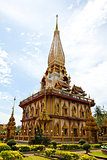 Pagoda in Wat Chalong or Chaitharam Temple, Phuket, Thailand.
