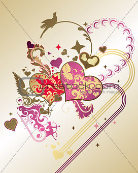 Abstract Valentines Heart Background