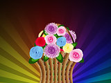 Basket of flowers on abstract background