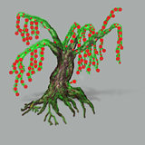 Fantasy tree with red blossoms