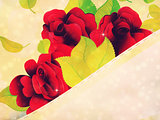 Red roses and ribbon