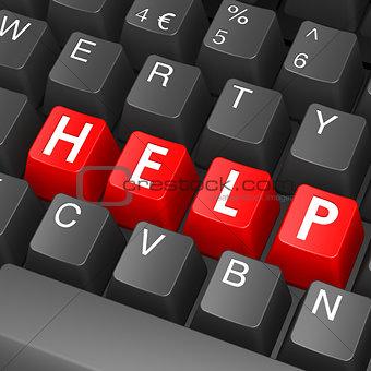 Black keyboard with help word