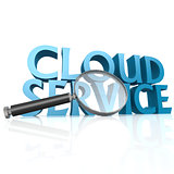 Magnifying glass with blue cloud service word