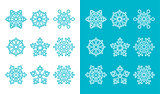 Snowflakes, winter blue decoration icons set