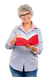 Elderly woman reading a book